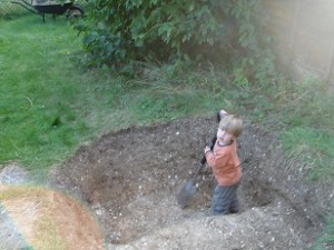 The New Pond, with Adam trying to help dig.